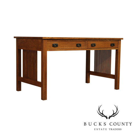 "Stickley Mission Collection Oak 54"" Spindle Library Desk"