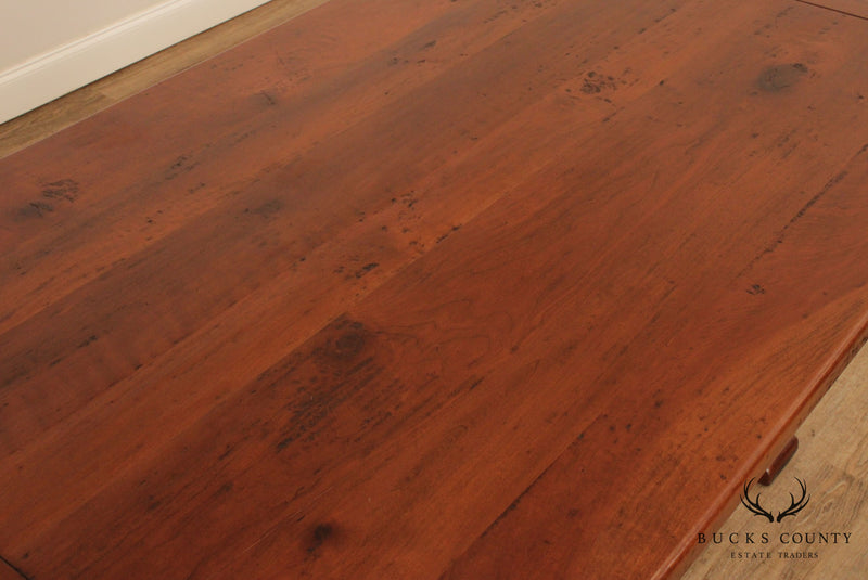 Custom Quality Solid Cherry Wood Farmhouse Trestle Dining Table