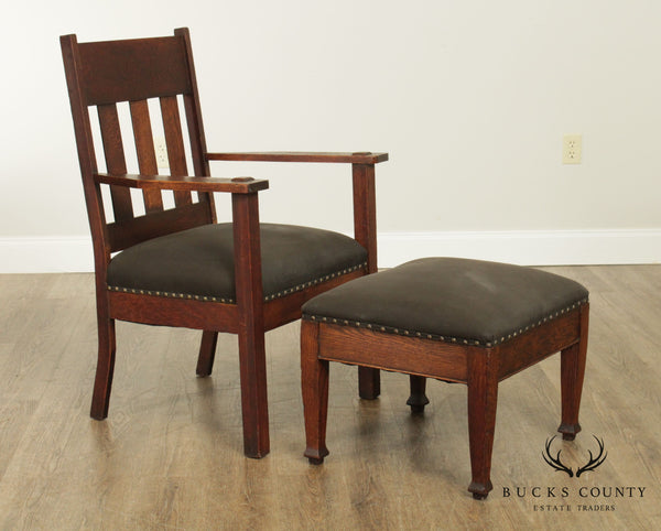 Antique Mission Oak Armchair with Footstool
