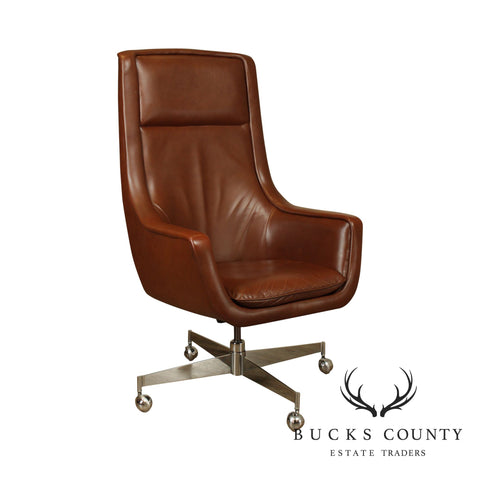 Florence Knoll Mid Century Modern Chrome Base Brown Leather Executive Desk Chair