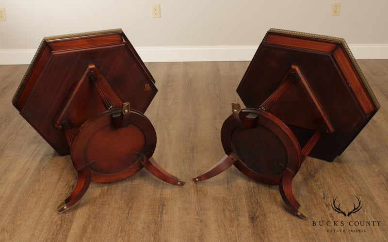 Regency Style Vintage Pair Flame Mahogany Hexagon Side Tables with Brass Galleries