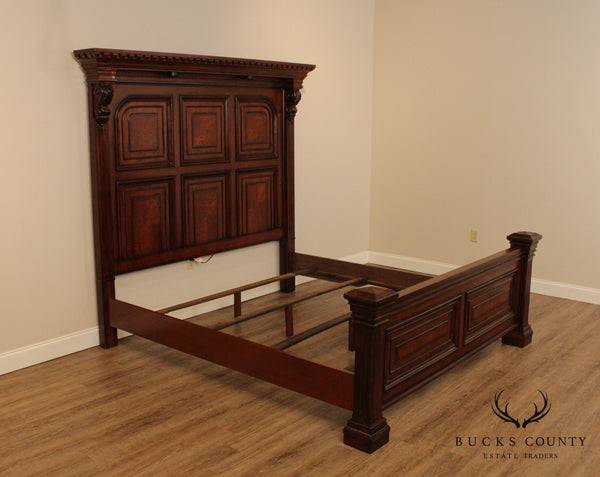 Jacobean Style Burl Oak King Size Tall Panel Back Bed