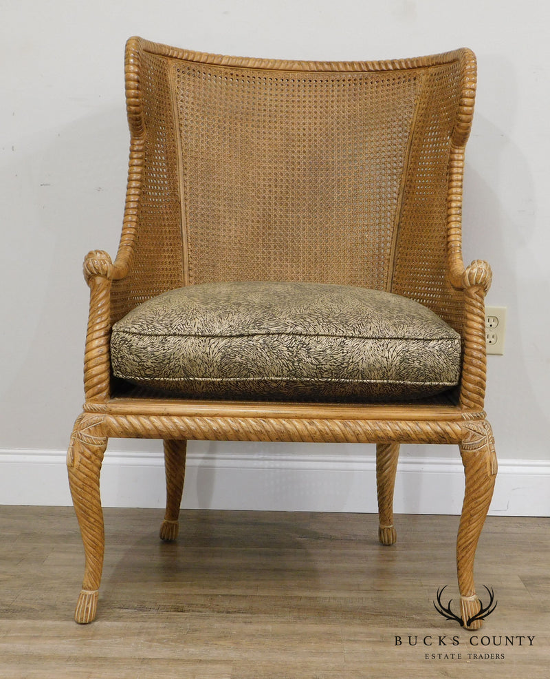 Jeffco French Louis XV Style Caned Wing Back Bergere Chairs