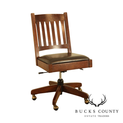 Stickley Mission Collection Oak Leather Seat Armless Swivel Office Chair