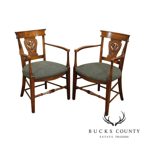 French Country Antique Pair Fruitwood Armchairs