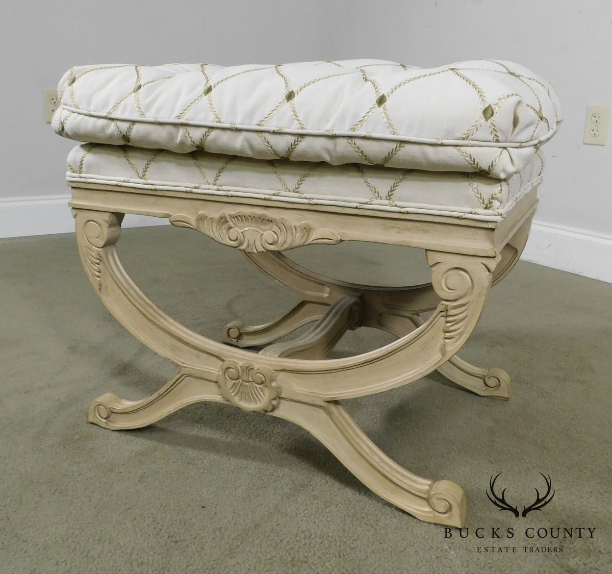Hickory White French Louis Xv Style Painted X Base Stool
