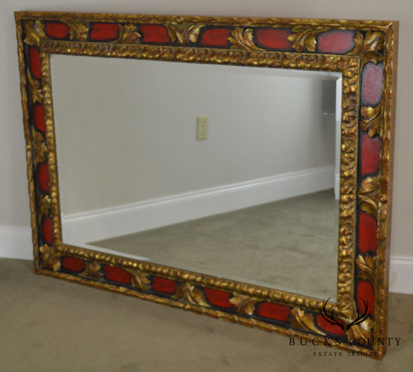 Italian Red & Gold Gilt Wood Carved Beveled Wall Mirror