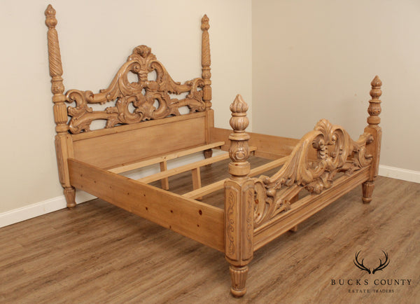 Rococo Style Hand Carved King Poster Bed