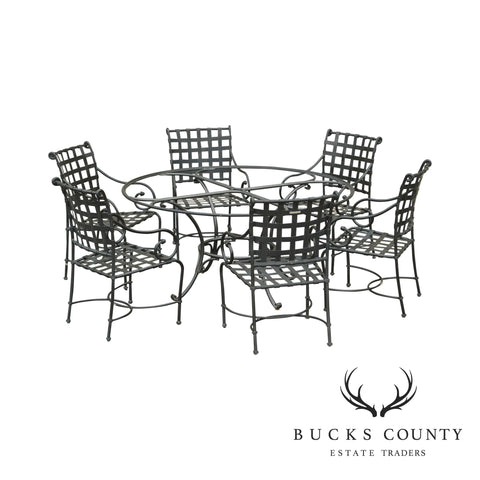 Brown Jordan Florentine Aluminum Patio Dining Set - Round Table Base & 6 Chairs