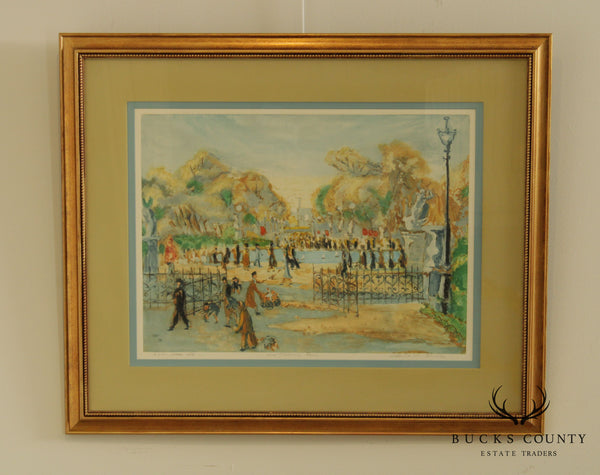 "Alex de Hadeln Vintage Framed Colored Engraving ""Tuilleries Garden"""