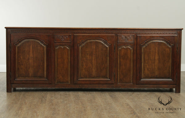 Baker French Country Style Walnut & Cherry Long Buffet Sideboard