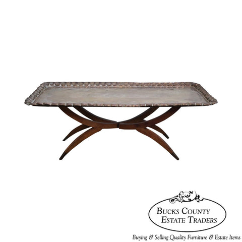 Vintage Incised Brass Scalloped Tray Top Asian Coffee Table w/ Folding Teak Wood Base