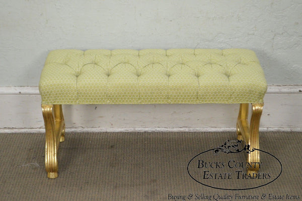 Italian Baroque Style Gilt Wood Tufted Window Bench