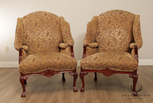 Craftmaster Custom Upholstered Pair Italian Baroque Style Carved Wing Back Chairs