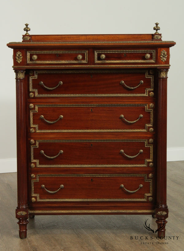 French Empire Style Fine Quality Mahogany Tall Chest