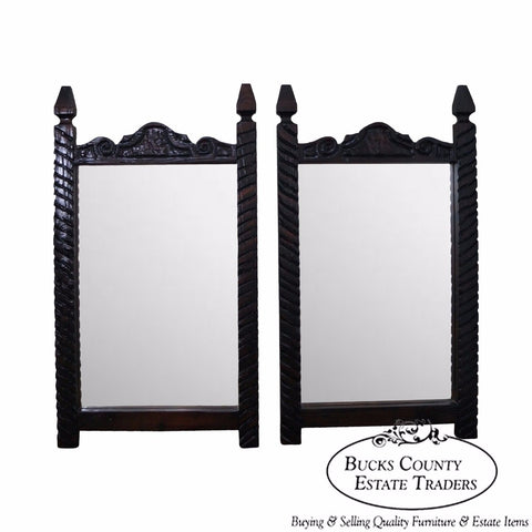 Witco Tiki Elvis Jungle Room Pair of Carved Redwood Frame Mirrors