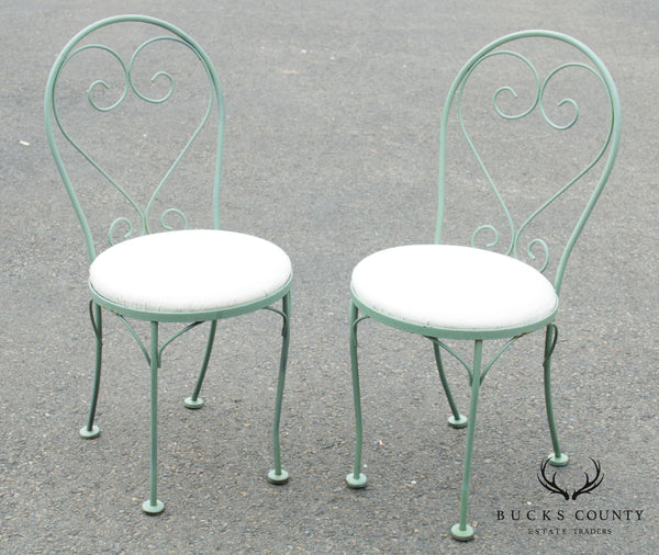 Vintage Wrought Iron Pair Cafe Side Chairs