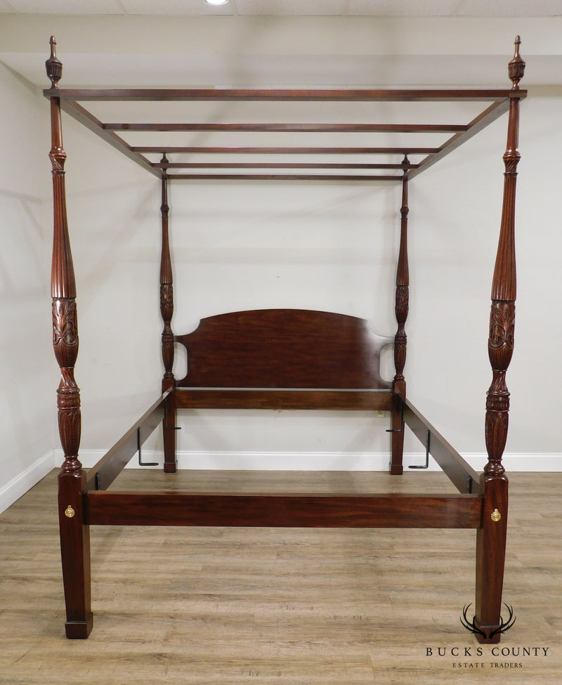 Henkel Harris Queen Size Mahogany Rice Carved Poster Canopy Bed
