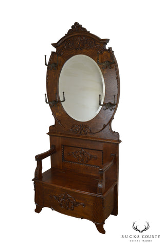 Antique Victorian Oak Hall Seat with Mirror