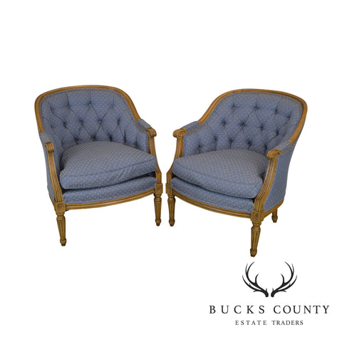 Baker French Louis XVI Style Pair Bergere Chairs