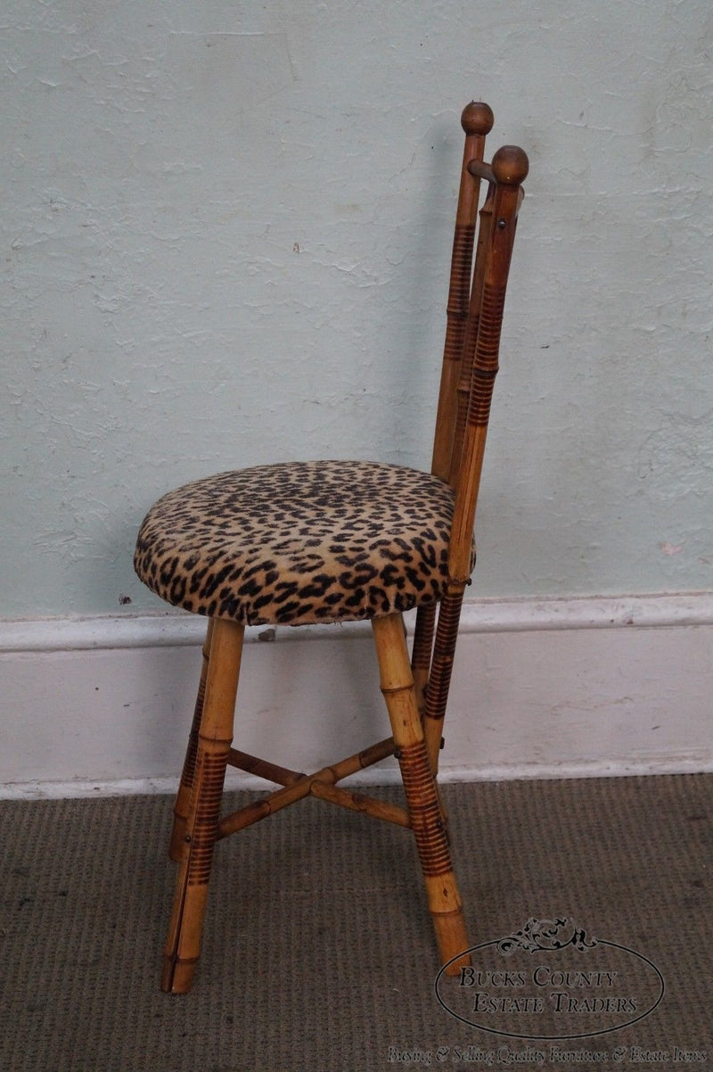 Antique Burnt Bamboo Side Chair w/ Leopard Print Seat