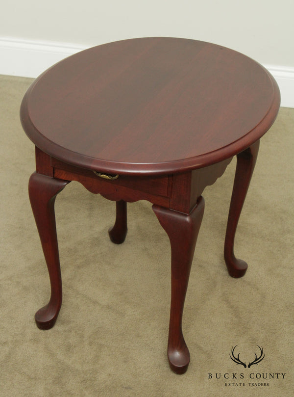 Pennsylvania House Queen Anne Style Oval Cherry One Drawer Side Table