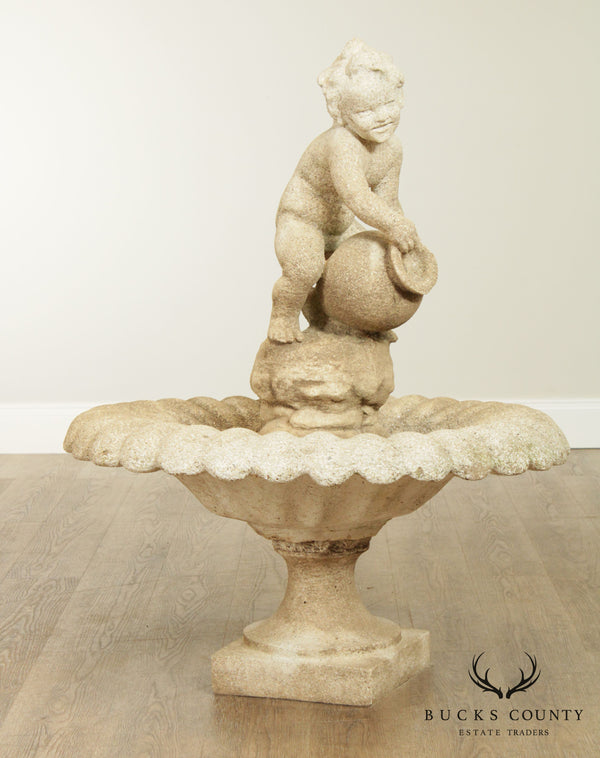 Vintage Cast Stone Garden Statue Fountain with Boy Pouring Water Vesel