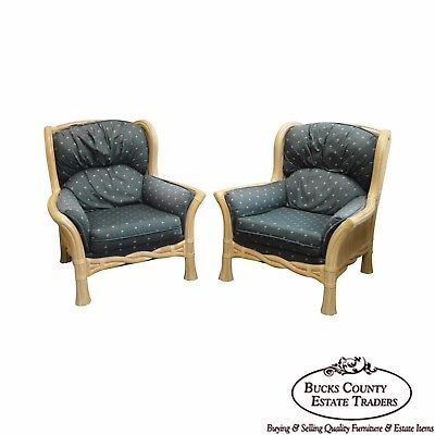 Lane Venture Pair of Twisted Rattan Lounge Chairs