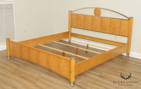 "Ethan Allen ""Radius Collection"" King Size Maple Bed"