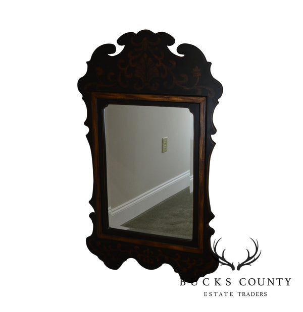 Winterthur Black & Gold Painted Beveled Wall Mirror