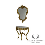 Rococo Gilt Carved Demilune Marble Top Console with Mirror