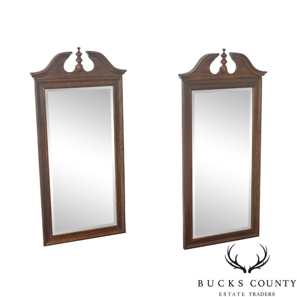 Thomasville Mahogany Collection Pair of Beveled Chippendale Style Mirrors
