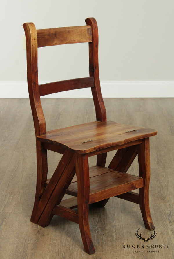 Vintage Hardwood Convertible Step Stool Library Chair