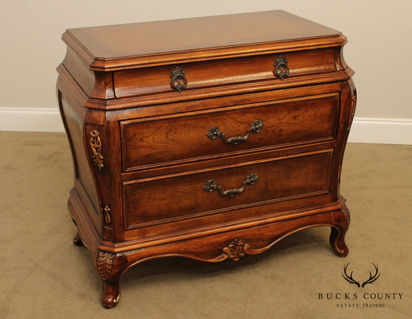 French Louis XV Style Burl Wood Bombe Commode Chest