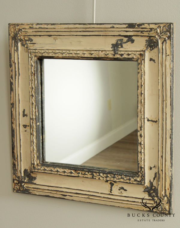 Shabby Chic Distressed Painted Embossed Tin Square Wall Mirror