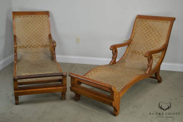 Anglo Indian Antique British Colonial Pair Caned Recamiers Chaise Lounges