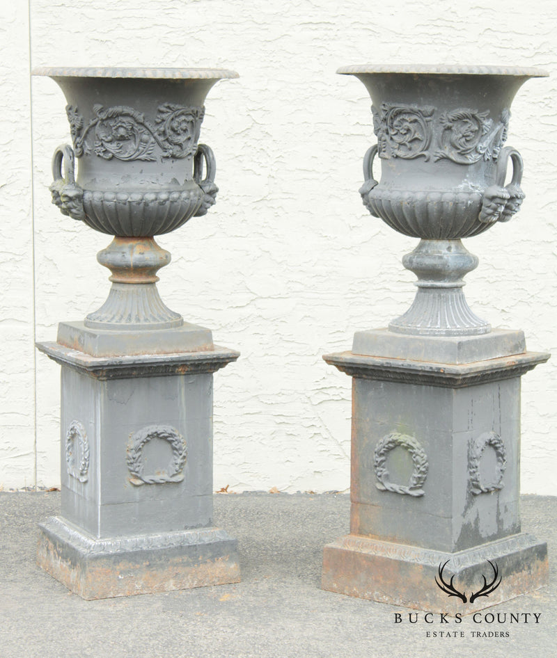 Large Pair Cast Iron Campana Garden Urns on Pedestals