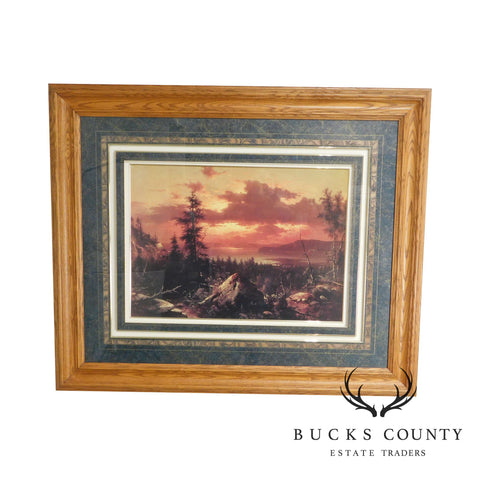 """Sunset Glow"" Hudson River Valley by Albert Bierstadt Reproduction Print"
