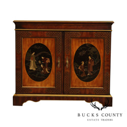 Drexel Heritage ET Cetera Mahogany Chinoiserie Decorated Server Cabinet