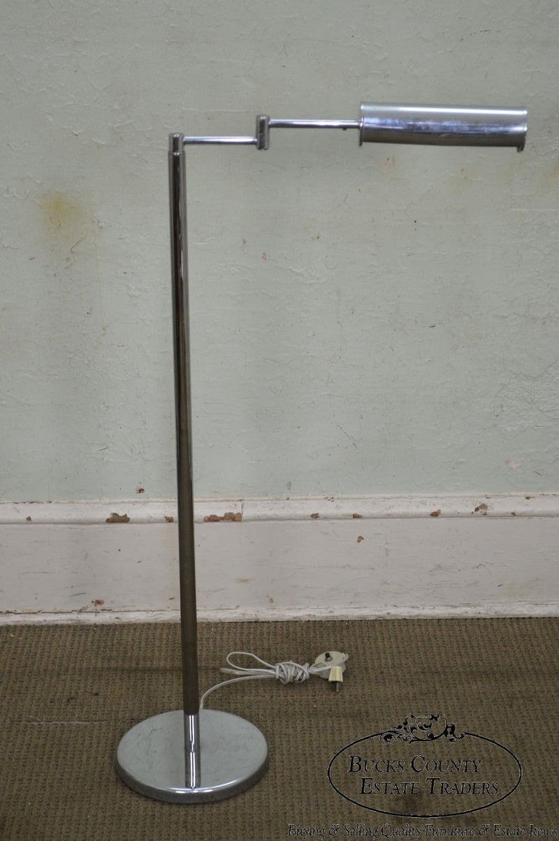 Nessen Studios Mid Century Modern 1960s Chrome Swing Arm Floor Lamp