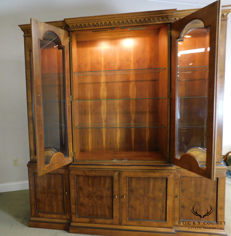 Henredon Large Inlaid Yew Wood Breakfront China Cabinet Bookcase
