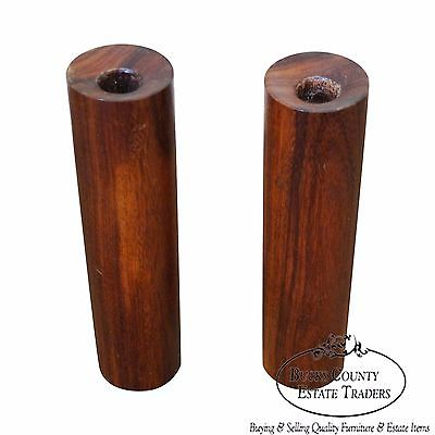 Mid Century Danish Modern Pair of Teak Cylinder Candle Sticks