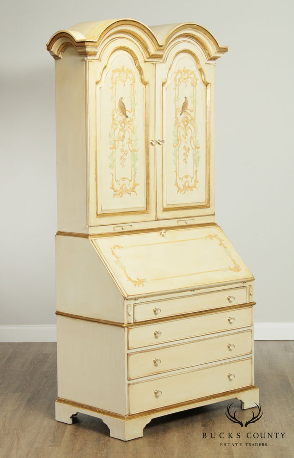 Venetian Style Hand Painted Double Bonnet Top Secretary Desk