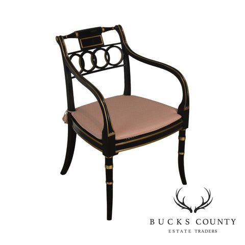 Baker Historic Charleston Collection Regency Style Black & Gold Armchair