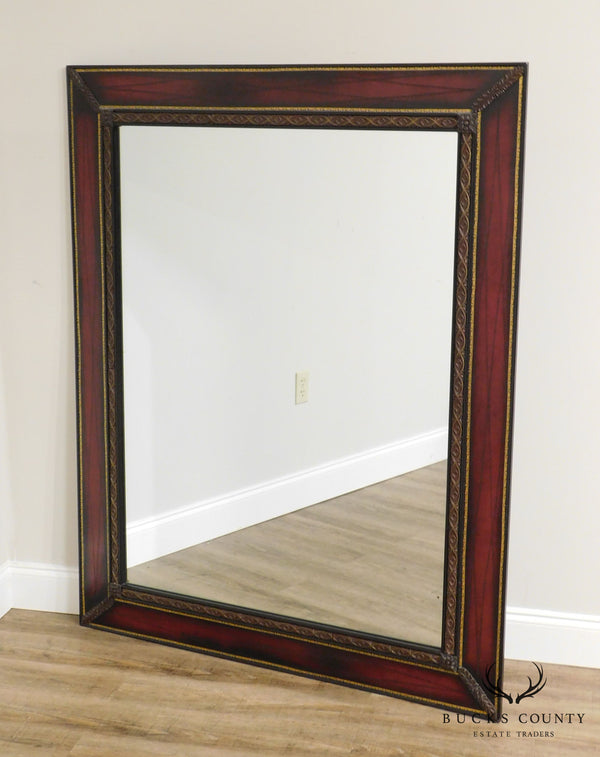 Hollywood Regency Vintage 1950's Red Leather Mahogany Frame Rectangular Wall Mirror