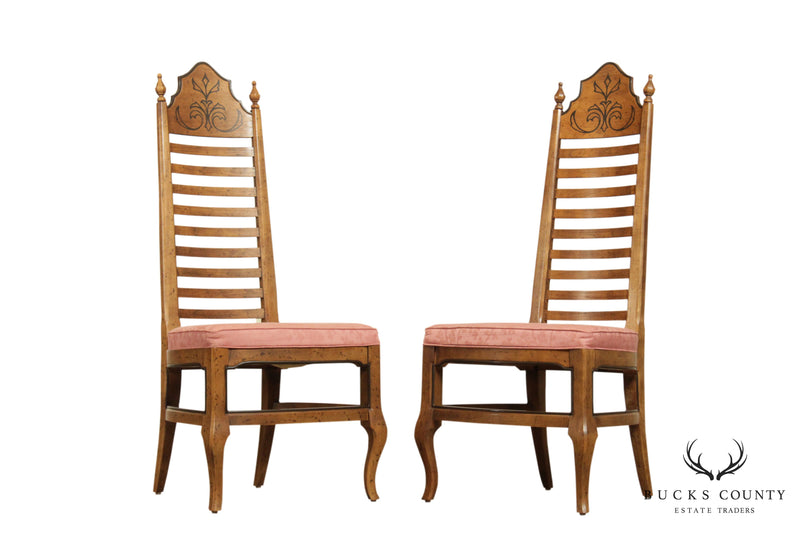 "Drexel ""Esperanto"" Collection Vintage Pair Ladder Back Side Chairs"