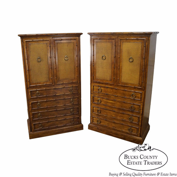 American of Martinsville Vintage Pair of Walnut Faux Bamboo Gentlemans Chests