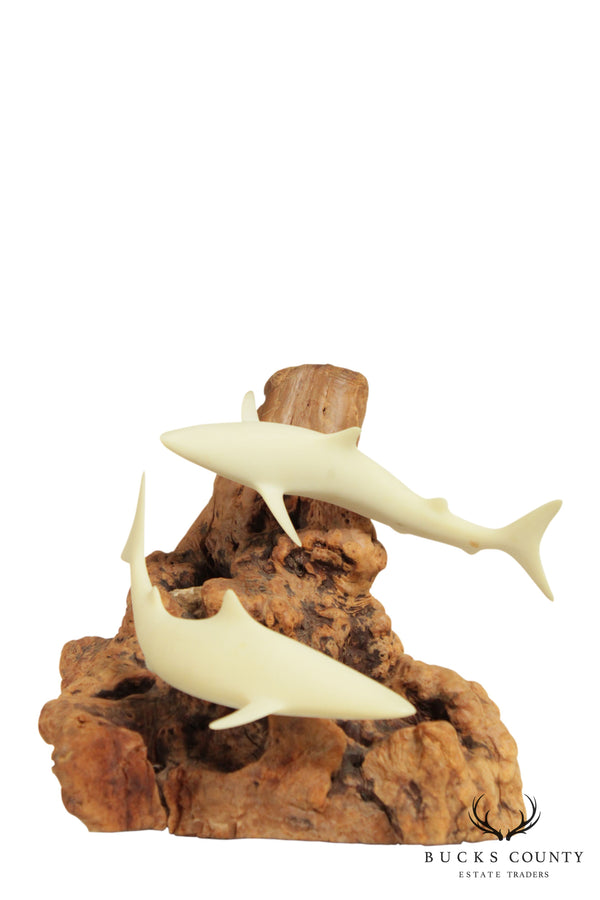 John Perry Carved Balanite Double Swimming Sharks Sculpture on Wood Base