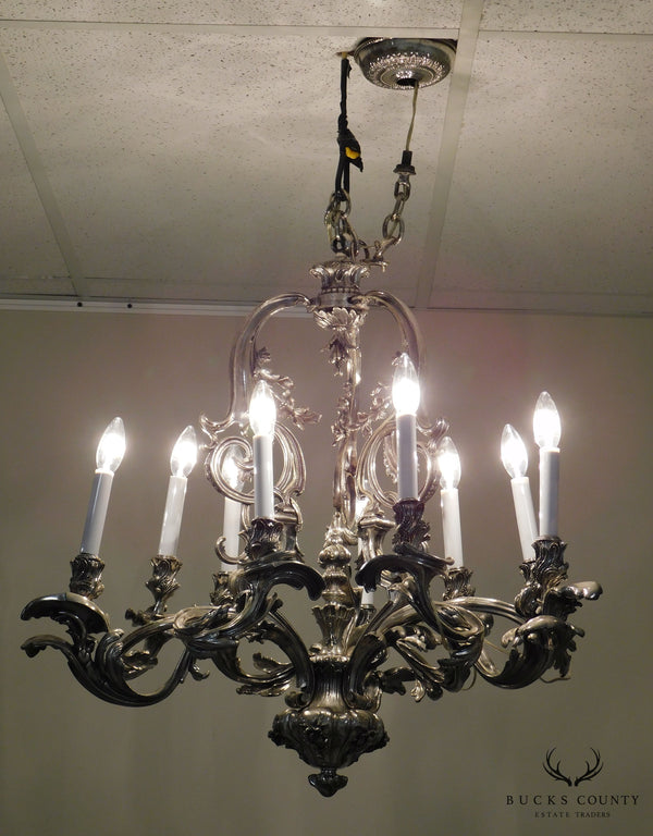 Ten Light Baroque Chandelier Antiqued Silver-Metal Foliate Design
