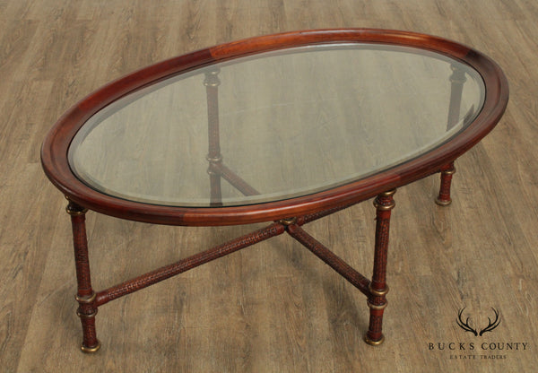 Oval Glass Top Woven Leather & Brass Base Coffee Table